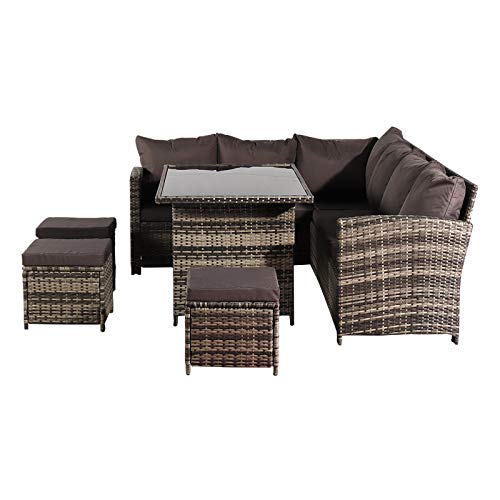 HO.FMA Outdoor 9 Seater Rattan Furniture, Resin Wicker Patio Furniture Set with Side Table and Outdoor Chairs, for Outdoor Patio Garden Poolside, With Free rain and dust cover