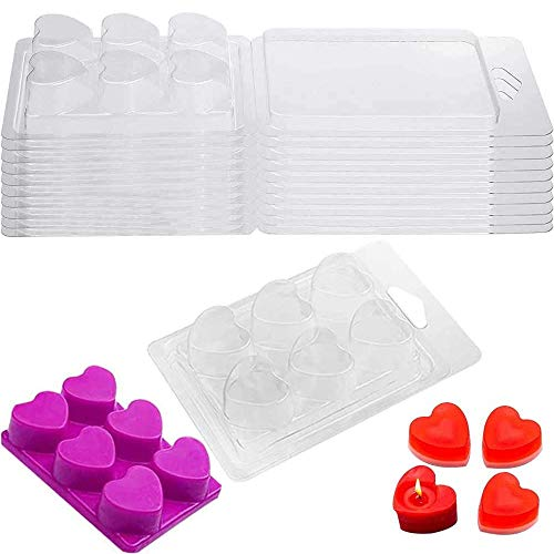 Wax Melt Clamshells Mold Plastic Love Heart Melt Moulds Wax Melt Clamshells Mold Container Cube Tray for Wickless Candle Making and Soap Wax Melts Boxes 6 Cavity Pack of 10