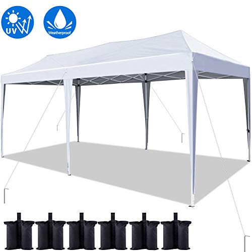 Quictent 10x20 ft Easy Pop up Canopy Tent Instant Canopy Shelter Folding Party Tent with 6 Weight Bags (White)