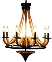 Mopoq Retro Industrial Hemp Large Circle of Black Wrought Iron Chandelier Candle Stand Ceiling Chandelier Design Interior ...