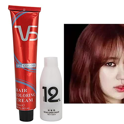 100 ml de crema para teñir el cabello + 120 ml, coloraciones para el cabello, tinte, crema reveladora, para el hogar, crema para el color del cabello, brillo de larga duración [rojo dorado]