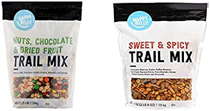 Amazon Brand - Happy Belly Nuts, Chocolate & Dried Fruit Trail Mix, 48 oz & Happy Belly Sweet & Spicy Trail Mix, 40 Ounce