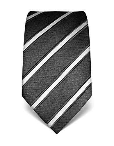 Vincenzo Boretti Herren Krawatte reine Seide gestreift edel Männer-Design zum Hemd mit Anzug für Business Hochzeit 8 cm schmal/breit anthrazit