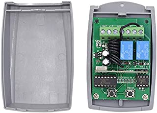 Receptor Universal para Puerta de Garaje Radio Receptor 433.92 MHz en Autoaprendizaje 2 Canales Código Fijo Y Rolling Code 3A 12-24V AC-DC