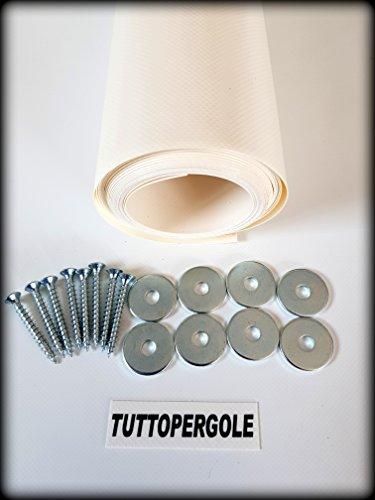 TUTTOPERGOLE Copertura con Fasce in PVC Pieno Adatte per strutture in Legno (Cm 330 X Cm 50, Avorio)