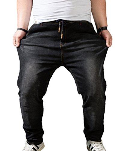 Heheja Homme Grande Taille Élastique Jeans Taille Haute Loisir Straight Denim Pantalon Noir 2XL