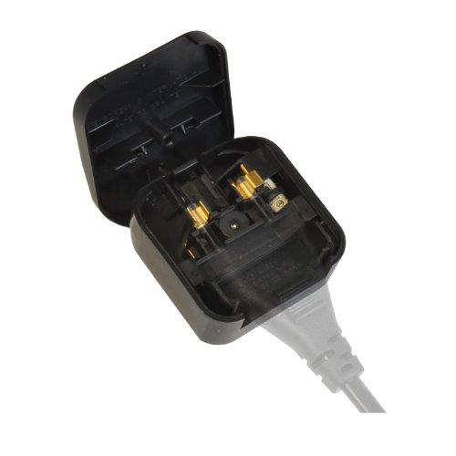 UK-Netzadapter (2-poliger Euro-Stecker auf 3-poliger UK-Stecker, ideal für GHDs, 5 A) Schwarz