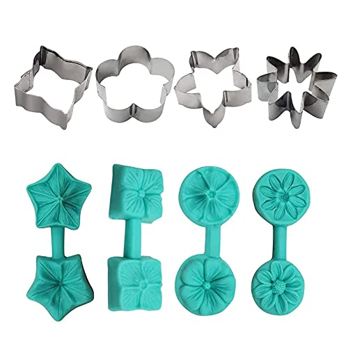 Juego de moldes de arte de azúcar en flor de flor, 8 piezas 3d molde de silicona de flor, molde de chocolate de acero inoxidable, herramientas de hornear hechas a mano regalo