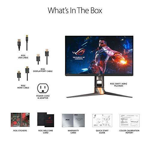 "ASUS ROG Swift 360Hz PG259QN 24.5"" HDR Gaming Monitor, 1080P Full HD, Fast IPS, 1ms, G-SYNC, ULMB, Eye Care, HDMI DisplayPort USB, Ergonomic Design, VESA Wall Mountable, HDR10, World's First 360Hz"