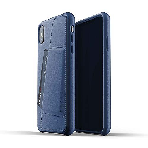 Mujjo Funda Cartera de Cuero Compatible con iPhone XS MAX   Piel auténtica Efecto Envejecido Natural, Ranuras para 2-3 Tarjetas, Marco Protector 1mm, Forro de Ante japonés (Azul)