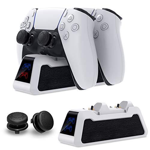FASTSNAIL Ladestation für PS5 Controller, kabelloses Schnellladegerät für PlayStation 5 DualSense Controller Twin Dockingstation für Sony PS 5 Ladeständer mit Daumengriffen und Kabel
