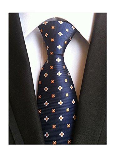 MINDENG Classic Jacquard Woven Silk Paisley Tie Men's Necktie Green Purple Blue