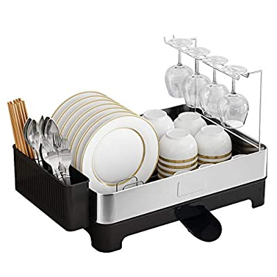 Junyuan kitchen dish rack hanging drying rack wall mount,dish rack bowl rack with Drain tray,Stainless steel black coating by