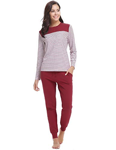Hawiton Damen Schlafanzug Pyjama Lang Gestreift Hausanzug Baumwolle Nachtwäsche mit Tasche Oberteil Hose für Herbst Winter (Winerot-94, M)