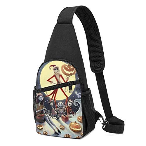 Liuyan - Mochila bandolera de Santa Jack Skellington, mochila de viaje, senderismo, bolsa para el pecho para mujeres y hombres