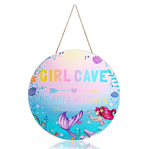Mermaid Wooden Sign Mermaid Girl Cave Sign Kids Room Wall Sign Mermaid Hanging Sign No Boys Allowed Except Daddy Round Wood Sign Girl Bedroom Decor for Girls Baby Bedroom Door Signs Decor