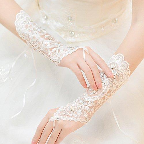 花嫁グローブ ウェディンググローブ 手袋 アクセサリー 総レース スパンコール 指なし ミディアム長 刺繍 おしゃれ ウェディング小物 アームドレス 華やか ブライダル 結婚式 演奏会 ダンス フェミニン オフホワイト