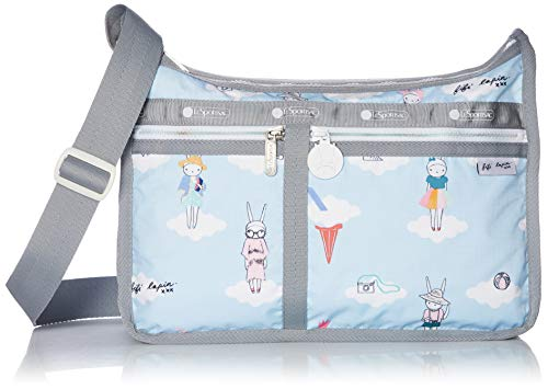 LeSportsac Fifi Lapin xxx, Day Dreaming Deluxe Everyday Crossbody Bag + Cosmetic Bag, Style 7507/Color G620, Bunny Rabbit Zipper Pull & White Zipper
