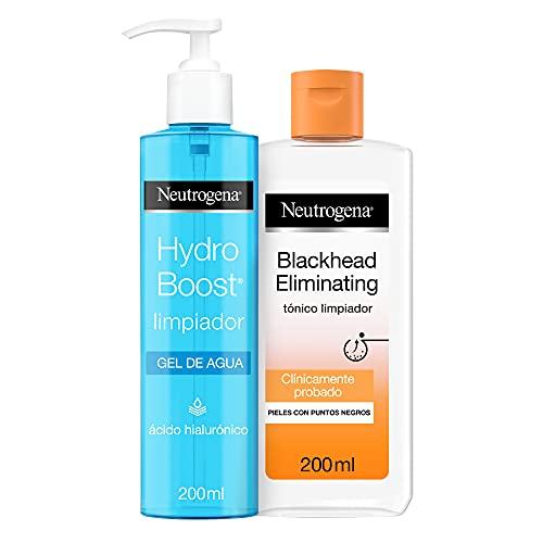 Neutrogena Blackhead Eliminating Tónico Limpiador con Ácido Salicílico Purificante, Pieles con Puntos Negros, 200 ml + Hydo Boost Gel de Agua Limpiador Facial con Ácido Hialurónico, 200 ml