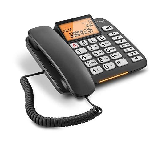 petit un compact Le Gigaset DL580 est une ligne fixe avec un cordon avec un câble noir, une fonctionnalité mains libres, de gros boutons et signaux…