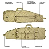 Elkton Outdoors Tactical Sniper Rifle Drag Bag, Long Gun, Shotgun, Hunting Rifle Case with Backpack Straps, 40-Inches, Tan