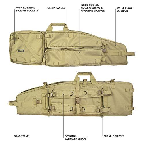 Elkton Outdoors Tactical Sniper Rifle Drag Bag, Long Gun, Shotgun, Hunting Rifle Case with Backpack Straps, 40-Inches, Tan