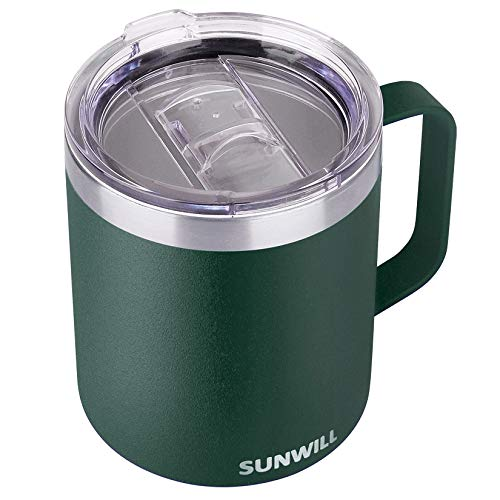 SUNWILL Coffee Mug with Handle, 14oz Insulated Stainless Steel Reusable Coffee Cup, Double Wall Coffee Travel Mug, Powder Coated Forest Green