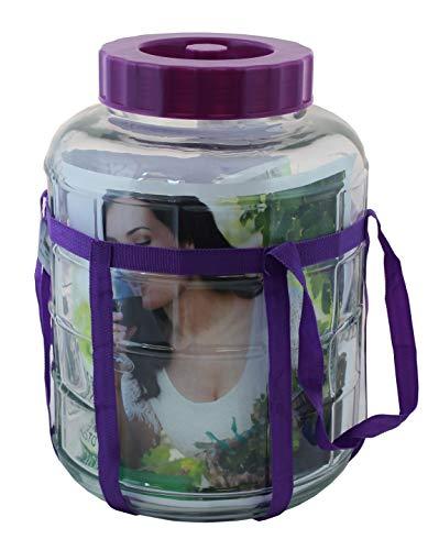 KADAX Gärballon, Glasballon mit Deckel aus Kunststoff, Weinballon, Glasgärballon, universelles Glas, Gurkenglas, Vorratsglas, Aufbewahrungsglas, Gärbehälter, Einkochglas (15L)