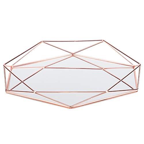 Bandeja de Almacenamiento de Joyas - Baño Sexangle Espejo Metal Oro Cosmético Almacenamiento de Joyas Organizador Bandeja Caja Placa(Oro Rosa)