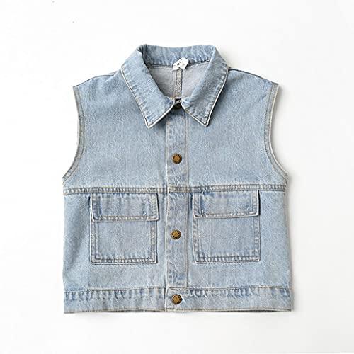 Chaleco de Mezclilla sin Mangas, Chaqueta de Jean Color sólido Casual, botón de Ajuste Delgado Abajo Jeans Chaleco Chaqueta (Color : Blue, tamaño : 130cm)