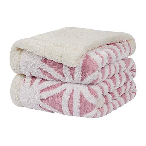 PiccoCasa Sherpa Decke doppelseitiger Decke Dicke Kuscheldecke mit 3D Fleece Jacquard Schneeflocke Muster Warm und Weich Flauschige Flanelldecke Rosa 160x200cm