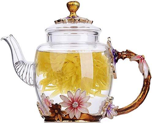 Emaille-Glas-Teekanne, ANSUG hitzebeständige Blumen-Glas-Teekanne Kung Fu Glas-Teekanne für Tee, Saft, Kaffee (C)