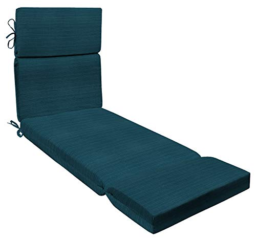 """Honeycomb Indoor/Outdoor Sunbrella Dupione Deep Sea Chaise Lounge Cushion: Recycled Polyester Fill Patio Cushions: 71""""L x 22""""W x 3.5""""H"""