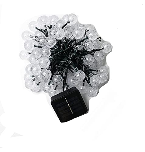 Luz De Bola De Cristal Solar, 24 Pies Led 60 Bombillas, Utilizada Para Dormitorio, Boda, Fiesta, Navidad, DíA Festivo, DecoracióN De áRboles, IluminacióN Exterior [A-Level Energy +] Blanco