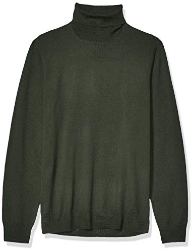 Amazon Brand - Goodthreads Men's Lightweight Merino Wool/Acrylic Turtleneck Sweater, Olive Medium