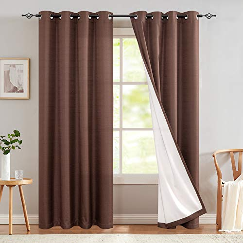 Thermal Insulated Blackout Curtain Room Darkening Lined Bedroom Drapes Brown Window Treatment Set 84 Inch Long Curtains Grommet Top One Panel