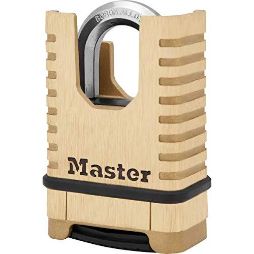 Master Lock Hochleistungs-Vorhängeschloss aus Massivmessing [geschlossener Bügel][Zahlenschloss] M1177EURD – rostbeständig, sehr widerstandsfähig und wasserfest, messing