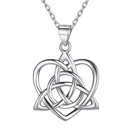ChicSilver 925 Sterling Silver Celtic Trinity Knot Necklace White Gold Plated Triquetra Trinity Love Heart Pendant Necklace Dainty Irish Jewelry for Women Girls, Birthday Gift