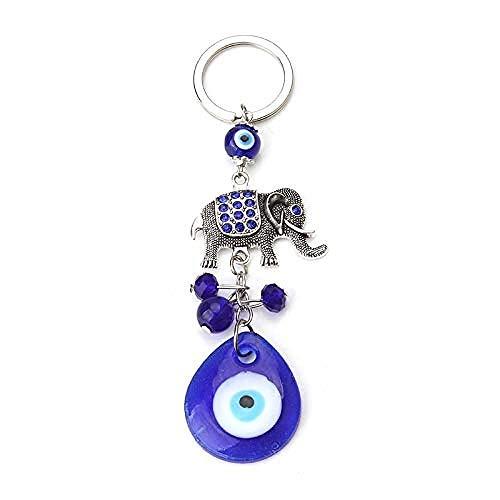 DdA8yonH Llavero Elefante Azul Encanto Mal de Ojo llaveros Amuleto de la Suerte Mal de Ojo para Mujer Hombre Coche Colgante joyería Llavero