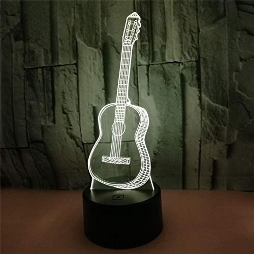 3d Slide Effect Phantom Light, Guitar Pattern, 7 Kinds Of Color-Changing Decorative Lights, The Best Holiday Birthday Gift For Bedroom And Children's Room Decoration, Smart Touch Buttons