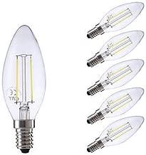LNDDP 2W E14 LED Filament Bulbs B35 2 COB 250 lm Warm White/Cool White AC 220-240 V 6 pcs, 220-240v