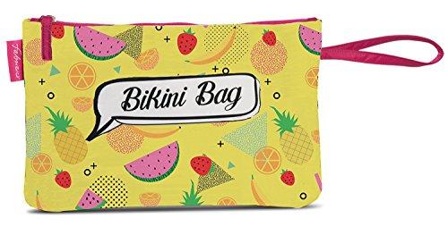 Bikini Bag Tasche Beutel für nasse Badesachen wasserabweisende Badetasche im Trend-Design Tutti Frutti gelb