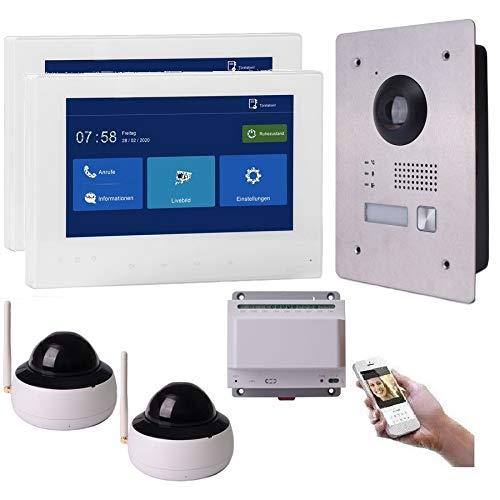 2 Draht IP Video Türsprechanlage Gegensprechanlage 7'' Monitor Weiß Kamera 170° HD mit oder ohne Überwachungskamera, Farbe: 2x7'' Monitor + 2X Kamera
