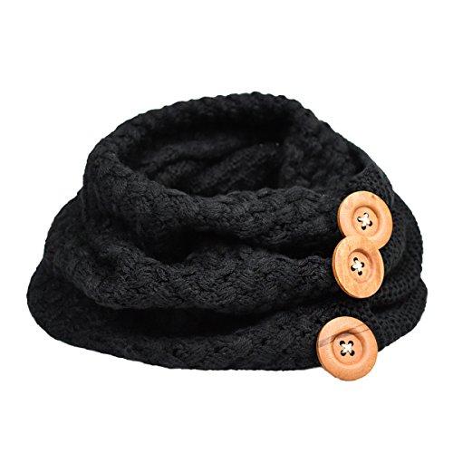 Tuopuda® Damen Schal Loop Strickschal Schlauchschal Loopschal in verschiedenen Farben (schwarz) - Einheitsgröße