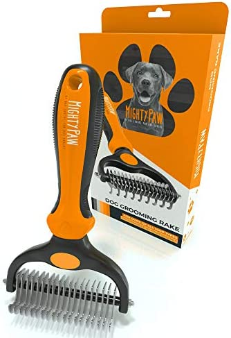 Mighty Paw Dog Grooming Rake | Dematting Pet Comb with Dual-Sided Stainless Steel Rounded Teeth. Safe Tool for Detangling, Thinning, & Deshedding All Hair Types. Ergonomic Handle for Comfort (Orange)