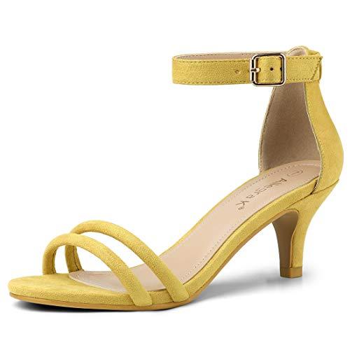Sandalias amarillas de tacón fino y doble tira