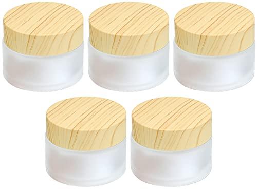 Winfred 5 Pcs Ollas de Crema para La Cara Vacías, Frasco de Crema Facial de Vidrio, Textura de Madera Tapa, Esmerilado Tarros de Crema Recipientes Vacíos para Cosméticos