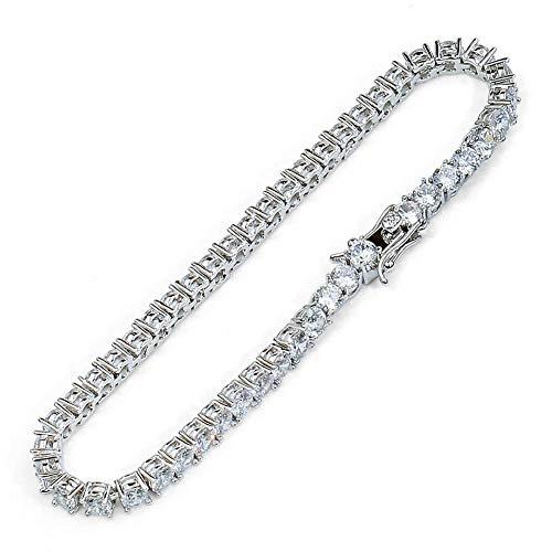 Hip Hop enkele rij Tennis armband, Hip Hop mannen en vrouwen armband kristal sieraden en liefde mode ketting verjaardagscadeau voor vriend moeder en vader (goud, zilver) armband