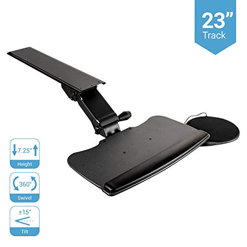 Fersgo Under Desk Keyboard Tray 20' x 11', Easy to Install Sliding Undermount Keyboard and Mouse Tray with Wrist Rest, Swivels 360° with Adjustable...