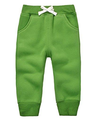 DELEY Unisex Baby Jungen Mädchen Hosen Kinder Jogginghose Baumwolle Fleece Elastische Taille Sweathosen Winter Pants Größe 3 Jahre Grün